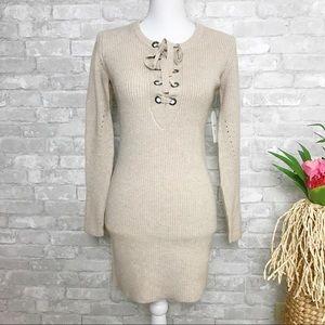 Taupe Long Sleeve Tunic Sweater Dress